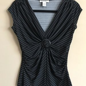 Striped black and white v-neck top